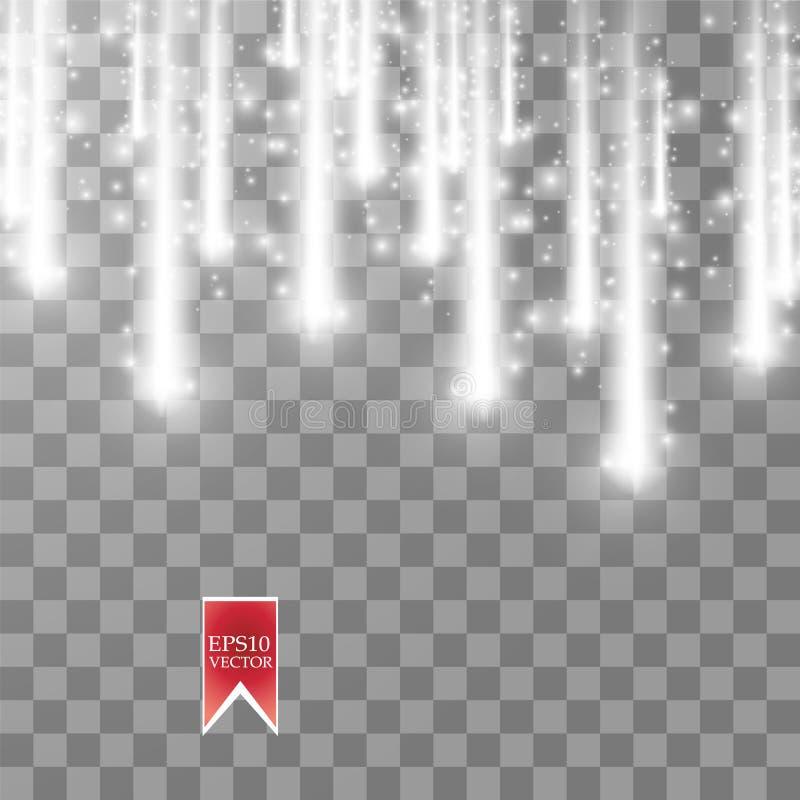 Comètes de pluie de vecteur sur le fond transparent lumières Concept magique Abrégé sur blanc vague de scintillement de vecteur illustration libre de droits