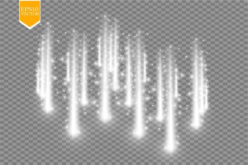 Comètes de pluie de vecteur sur le fond transparent lumières Concept magique Abrégé sur blanc vague de scintillement de vecteur illustration de vecteur