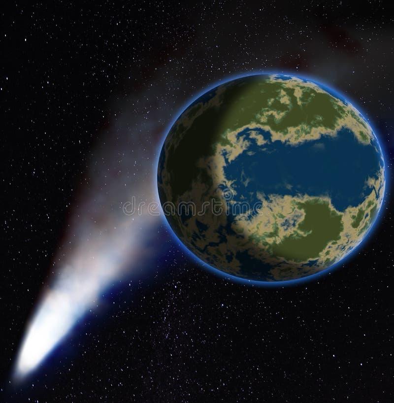 Comètes, queue de dustborne de comète sur un fond une planète illustration de vecteur