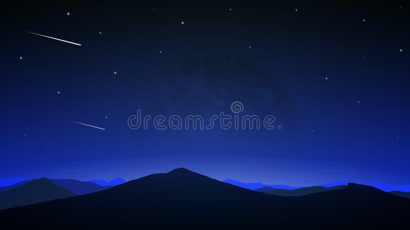 Comètes sur le fond de la pleine lune de nuit illustration stock
