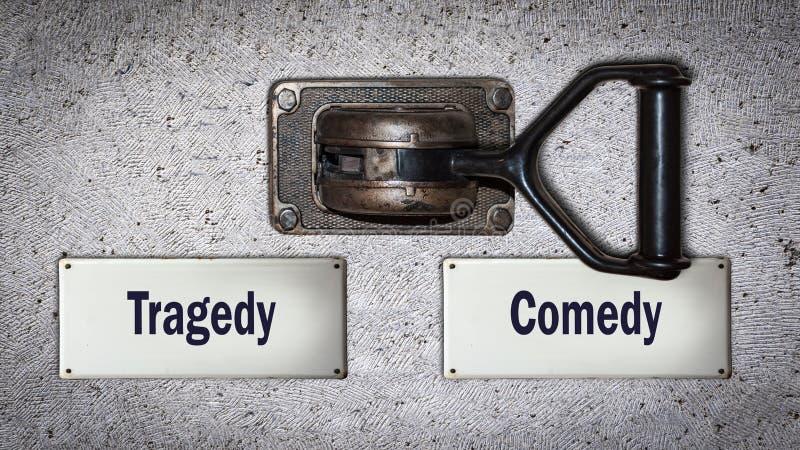 Comédia do interruptor da parede contra a tragédia imagem de stock