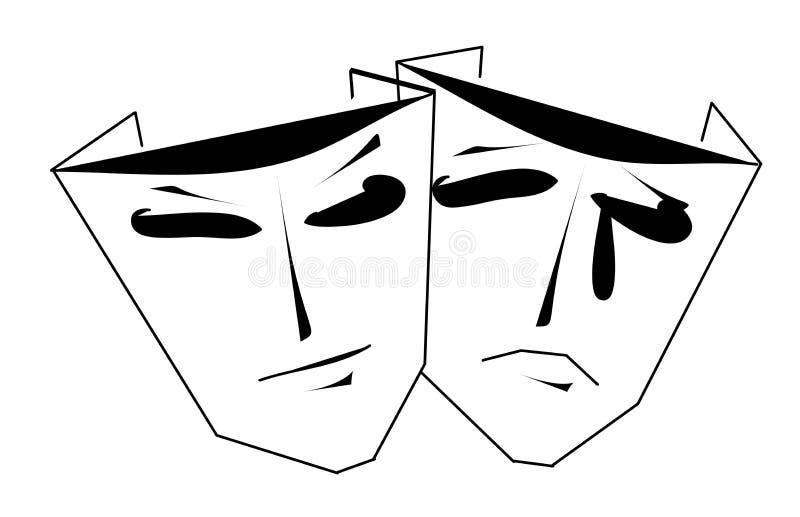 Comédia e tragédia ilustração royalty free