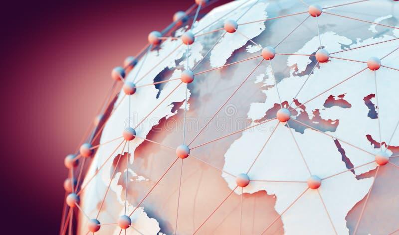 Comércio do mapa do mundo e do Internet ilustração stock