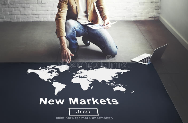 Comércio dos novos mercados que vende o conceito do mercado do negócio global imagem de stock