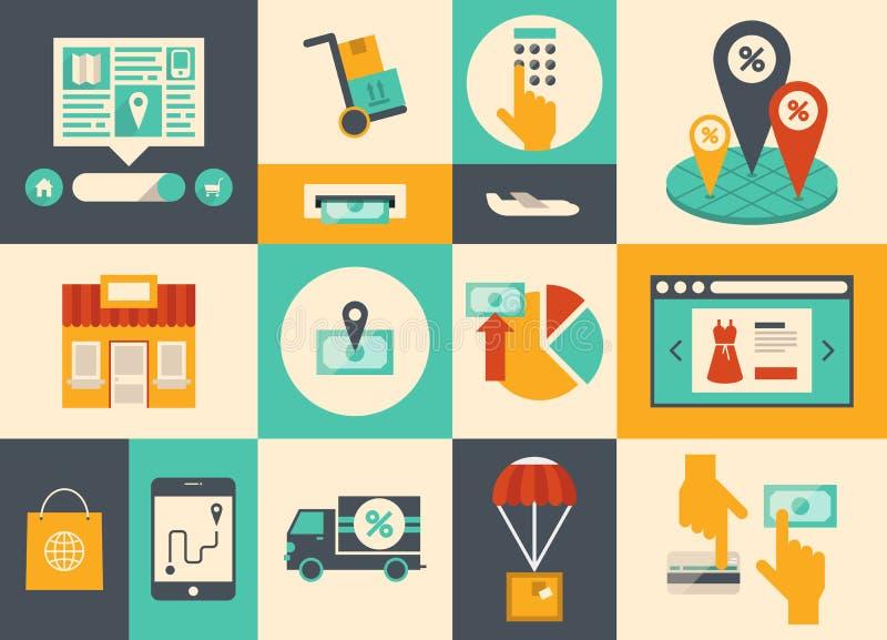 Comércio electrónico e ícones em linha da compra ilustração do vetor