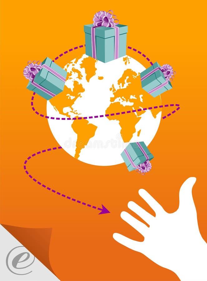 Comércio electrónico: o mundo em sua mão ilustração royalty free