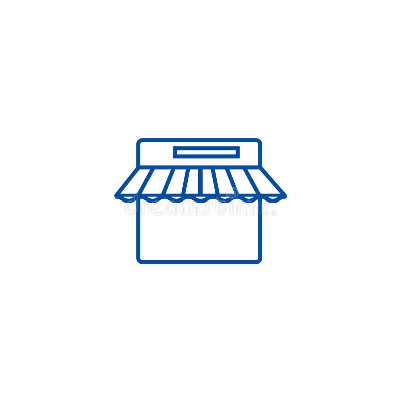 Comércio eletrónico, linha conceito da loja do Internet do ícone Comércio eletrónico, símbolo liso do vetor da loja do Internet,  ilustração royalty free