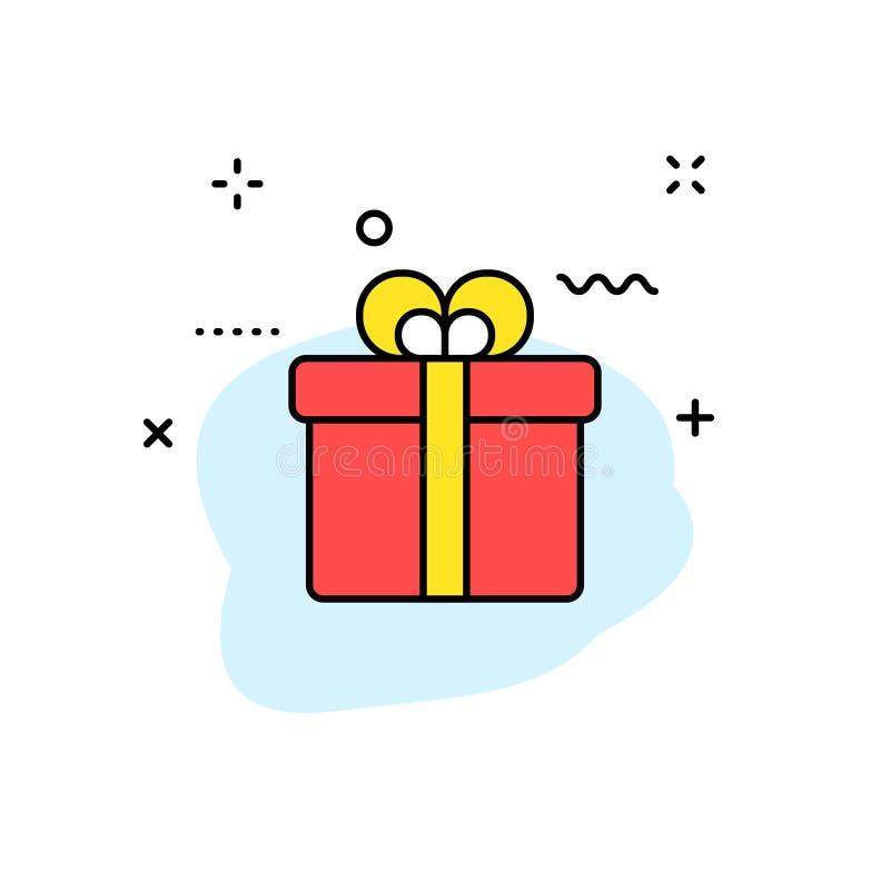 Comércio eletrônico e ícones de compra da Web na linha estilo Loja móvel, mercado de Digitas, cartão de banco, presentes Ilustraç ilustração stock