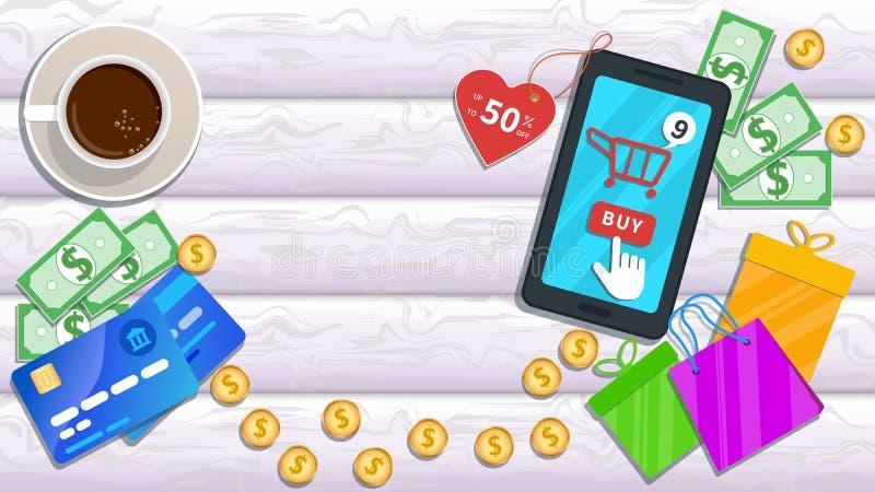 Comércio eletrônico em linha das compras ao domicílio Smartphone liso com desconto no preço, no ícone do carro e no botão da comp ilustração royalty free