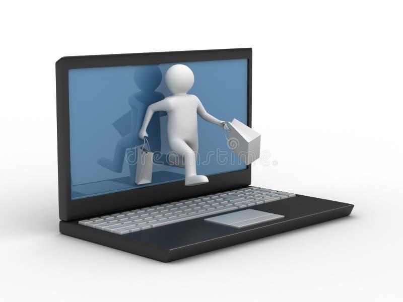 Comércio eletrônico. Entrega dos bens ilustração stock