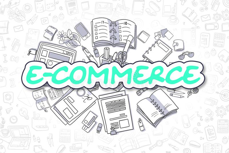 Comércio eletrônico - inscrição verde da garatuja Conceito do negócio ilustração royalty free