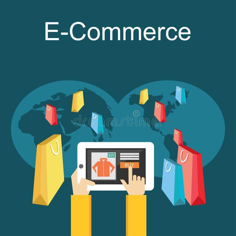 Comércio eletrônico ou ilustração em linha da compra Conceito liso da ilustração do projeto ilustração stock