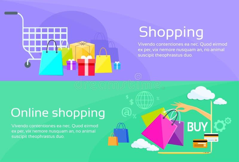 Comércio em linha da bandeira da Web do saco de compras liso ilustração royalty free
