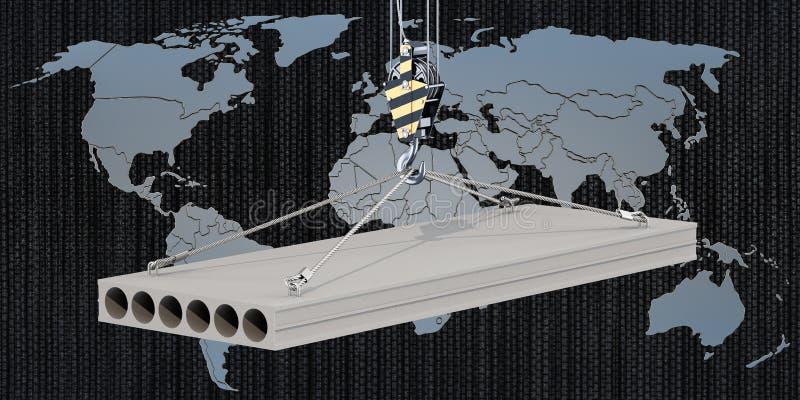 Comércio global do conceito da laje de cimento, rendição 3D ilustração royalty free