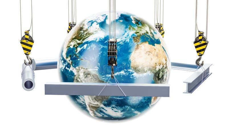 Comércio global do conceito rolado dos produtos, rendição 3D ilustração royalty free