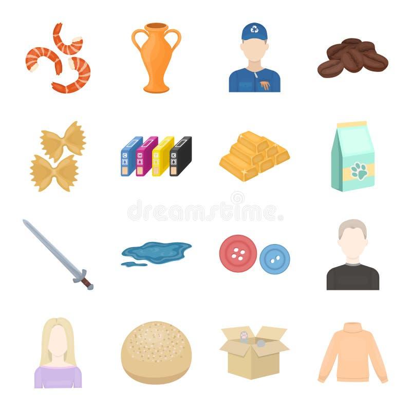 Comércio, negócio, passatempo e o outro ícone da Web no estilo dos desenhos animados caixa, brinquedos, ícones da camiseta na col ilustração do vetor