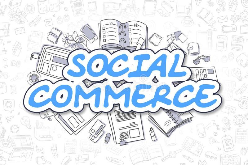 Comércio social - texto do azul da garatuja Conceito do negócio ilustração royalty free
