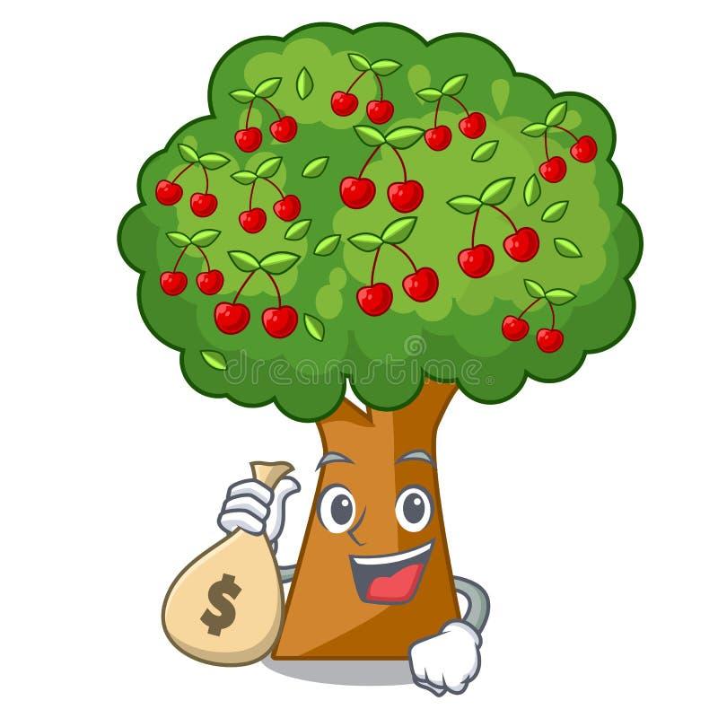 Com a árvore de cereja do saco do dinheiro na forma dos desenhos animados ilustração royalty free