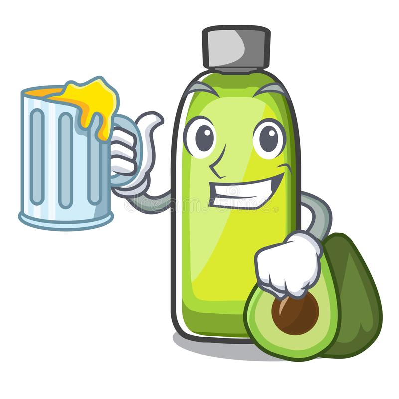 Com óleo do abacate do suco nos desenhos animados do bottol ilustração do vetor