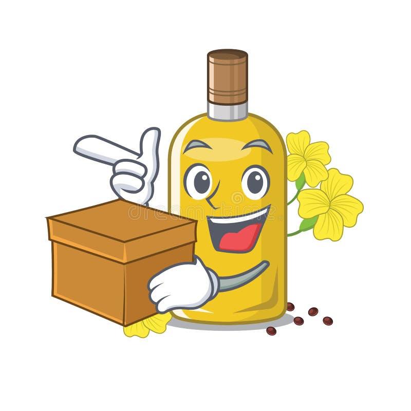 Com óleo do canola da caixa na forma da mascote ilustração stock