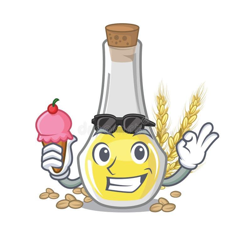 Com óleo do germe de trigo do gelado a forma da mascote ilustração do vetor