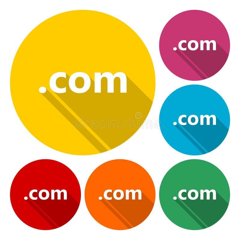 COM домена подписывает значок Высшего уровня домен интернета иллюстрация штока