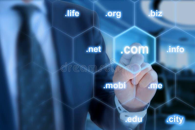 .com самая важная законцовка домена стоковое изображение rf