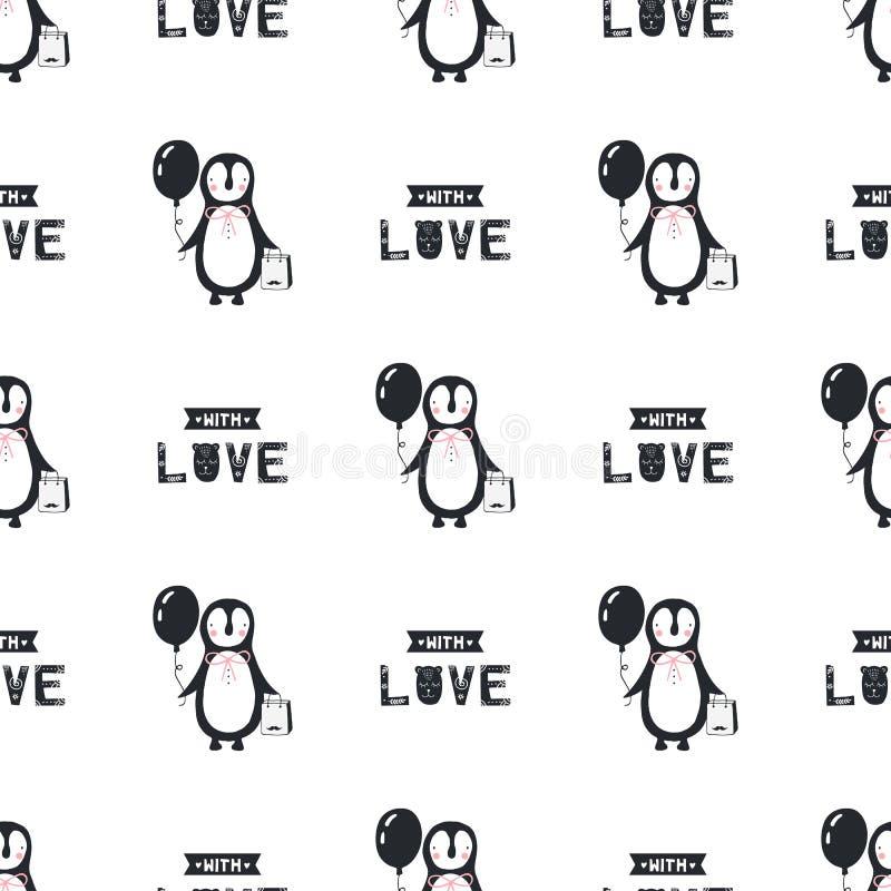 Com amor - teste padrão sem emenda do aniversário do berçário com pinguim e rotulação no estilo escandinavo ilustração do vetor