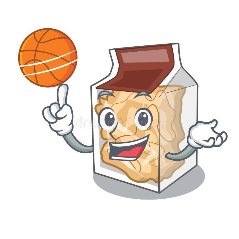 Com as cascas da carne de porco do basquetebol isoladas nos desenhos animados ilustração royalty free