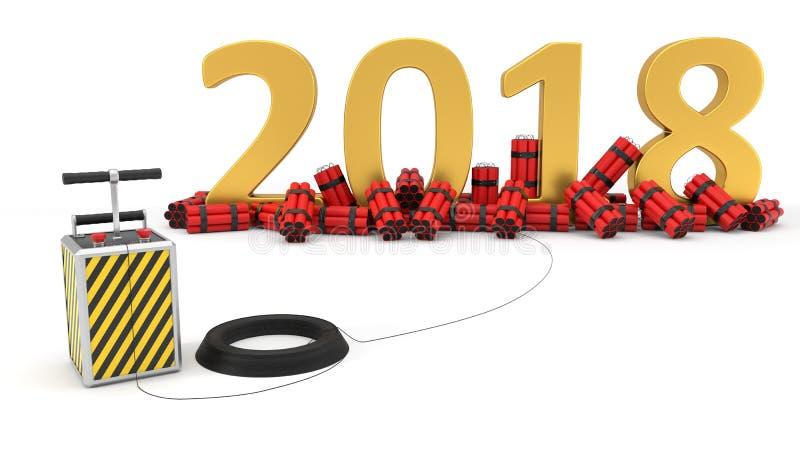 2018 com bloco e detenator da dinamite ilustração 3D ilustração do vetor
