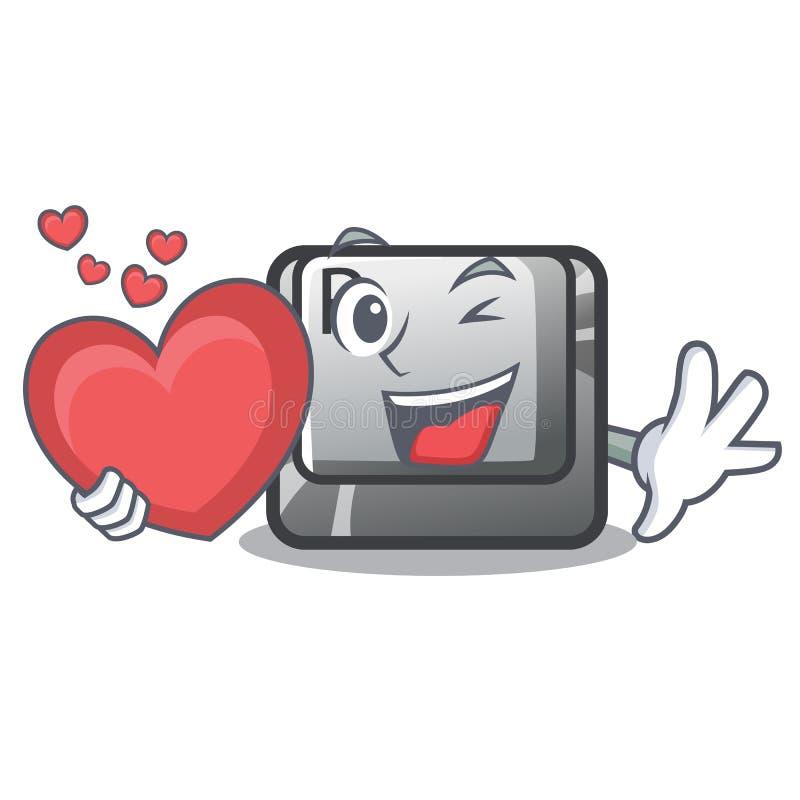 Com botão R do coração na forma da mascote ilustração do vetor