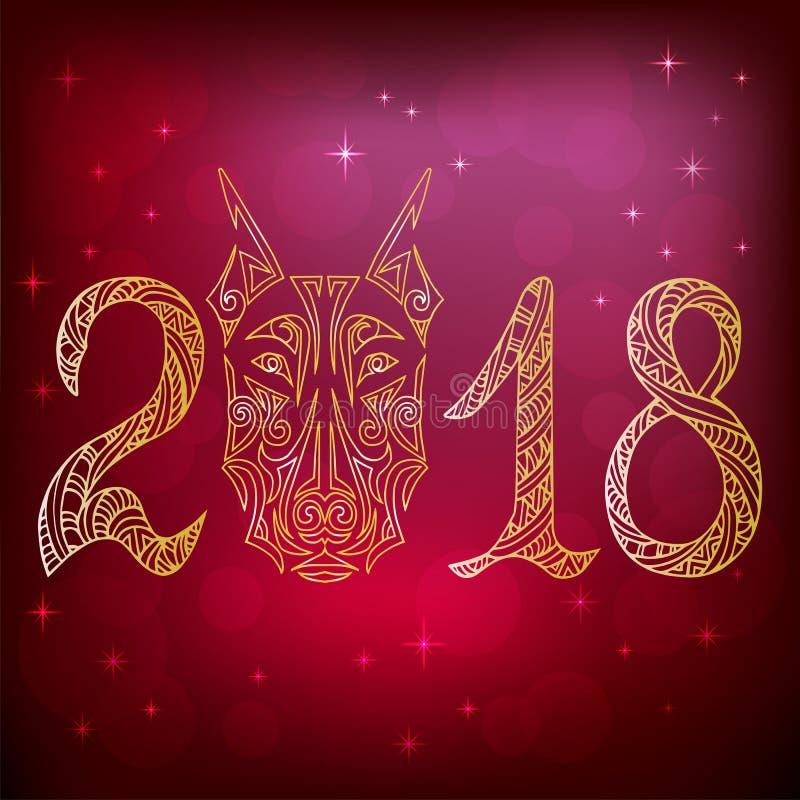 2018 com cabeça de cão do doberman ilustração stock