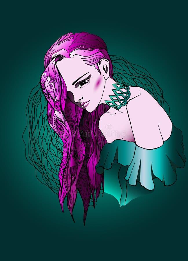 Com cabelo cor-de-rosa ilustração do vetor