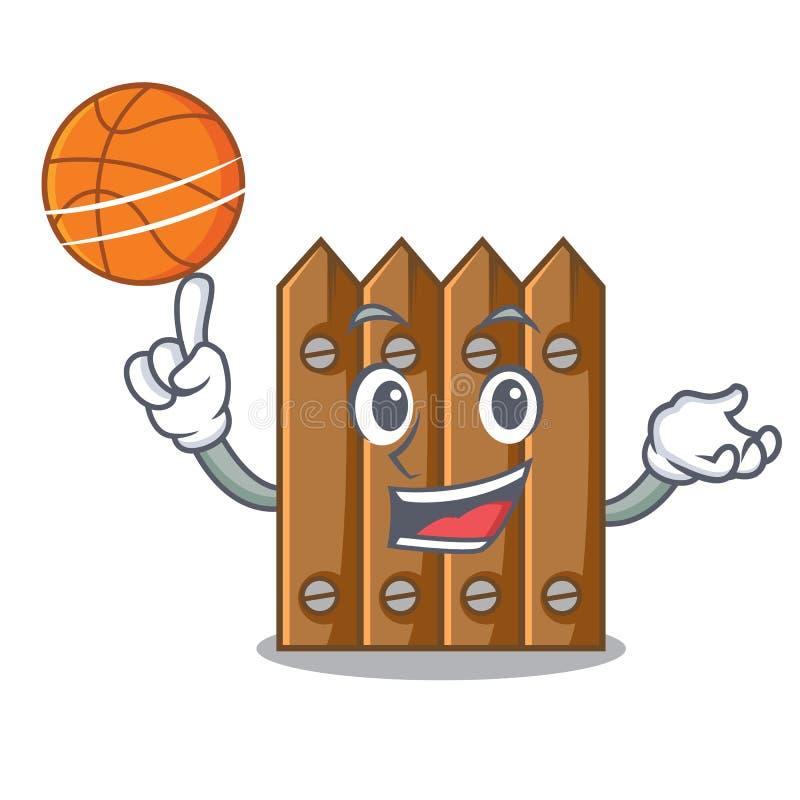 Com a cerca de madeira do marrom do basquetebol isolada no caráter ilustração do vetor