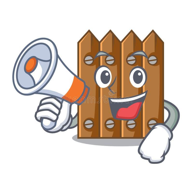 Com a cerca de madeira do marrom do megafone isolada no caráter ilustração do vetor