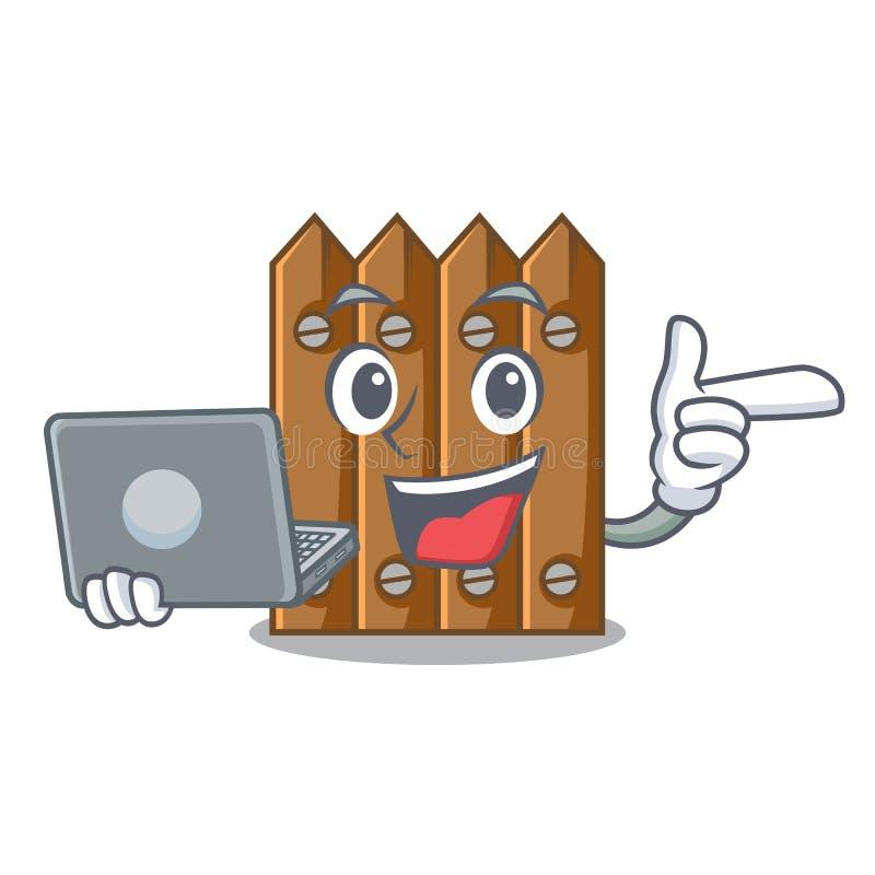 Com a cerca de madeira do marrom do portátil isolada no caráter ilustração do vetor