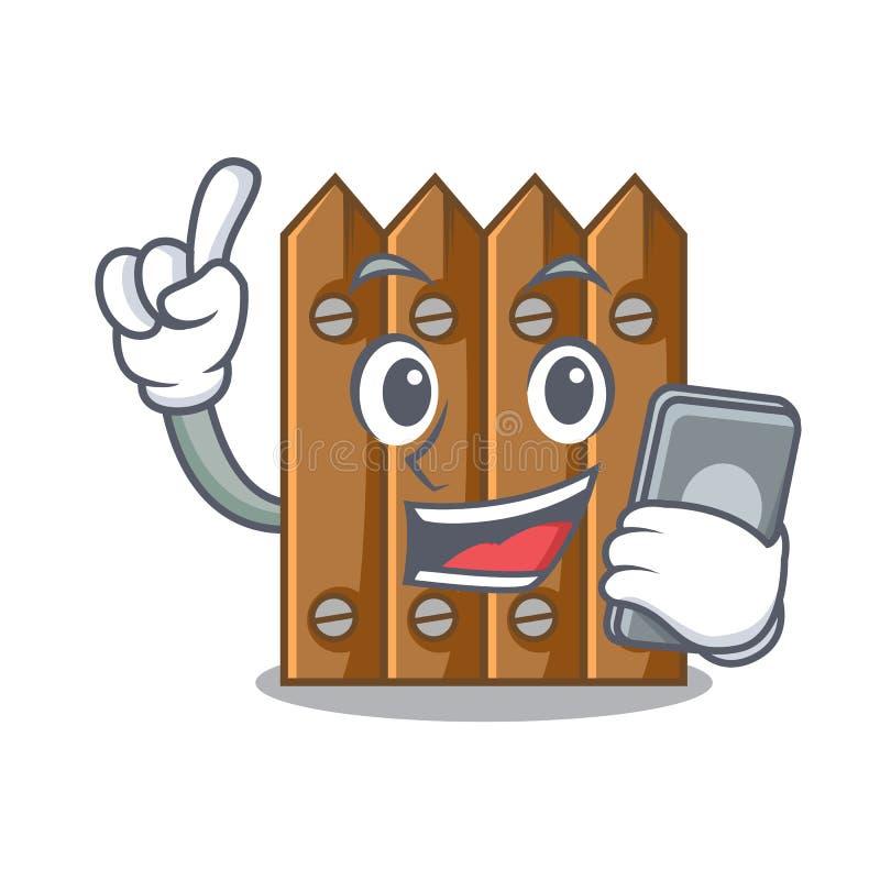 Com a cerca de madeira do marrom do telefone isolada no caráter ilustração do vetor