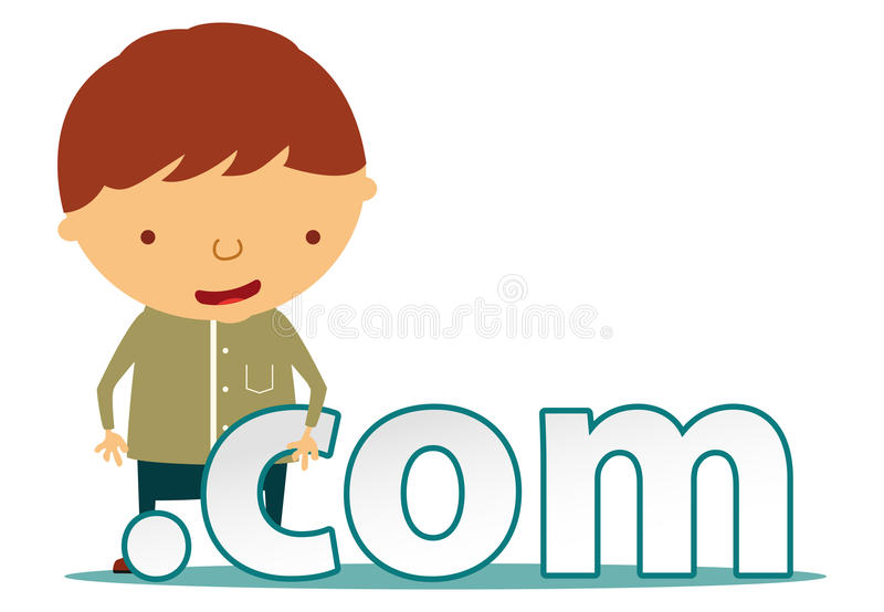 Com character. Men character with dot com sign royalty free illustration