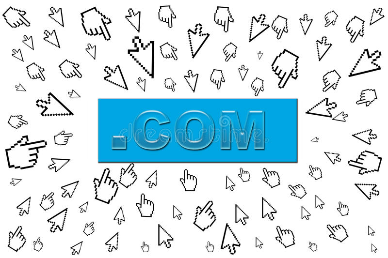 .com concept. With cursors coming toward vector illustration