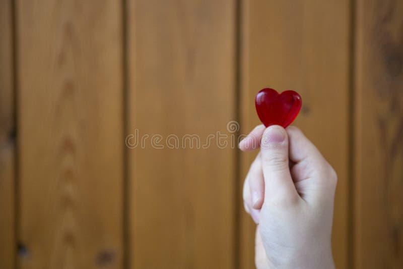 Com coração nas mãos imagem de stock
