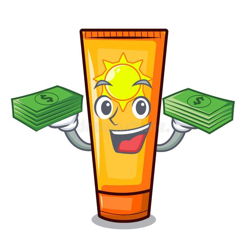 Com creme do sol dos desenhos animados do saco do dinheiro na composição do saco ilustração stock