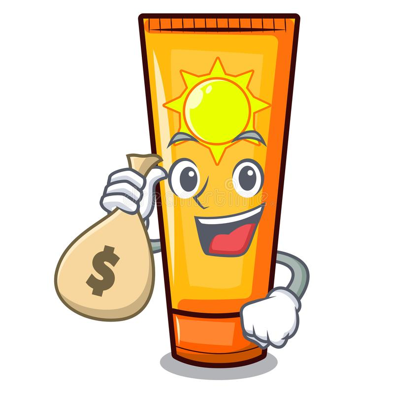 Com creme do sol do saco do dinheiro na forma da mascote ilustração royalty free