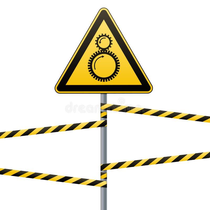 Com cuidado apertar entre elementos de giro é possível Sinal de segurança O sinal triangular no polo com faixas de advertência ilustração stock