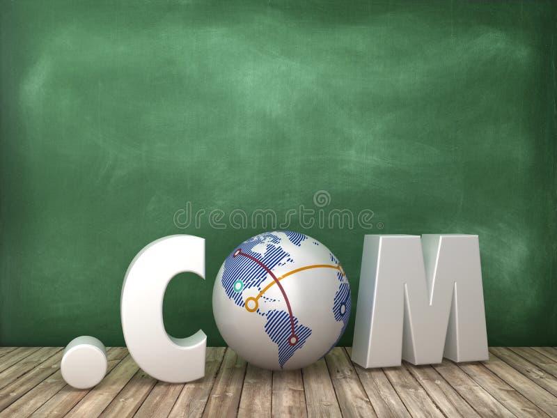 COM 3D słowo z kula ziemska światem na Chalkboard tle ilustracja wektor
