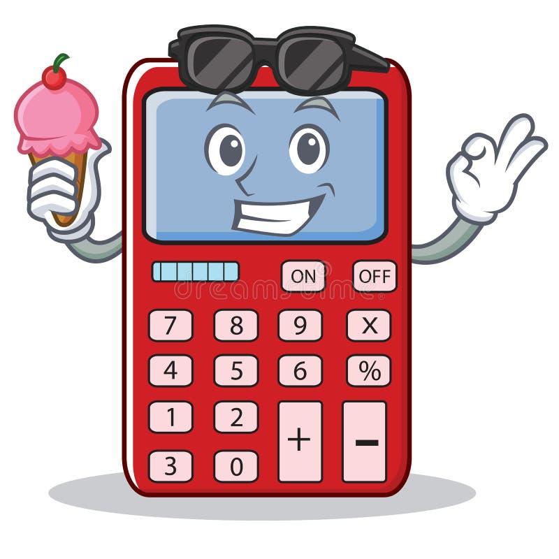 Com desenhos animados bonitos do caráter da calculadora do gelado ilustração royalty free