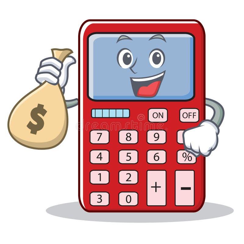 Com desenhos animados bonitos do caráter da calculadora do saco do dinheiro ilustração do vetor