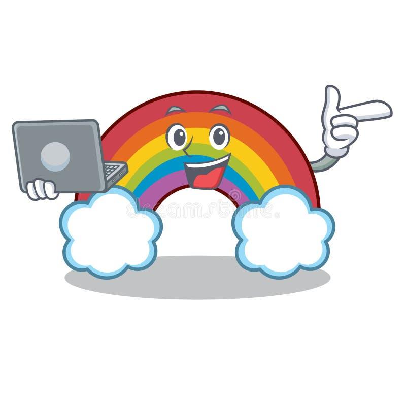 Com desenhos animados coloridos do caráter do arco-íris do portátil ilustração stock