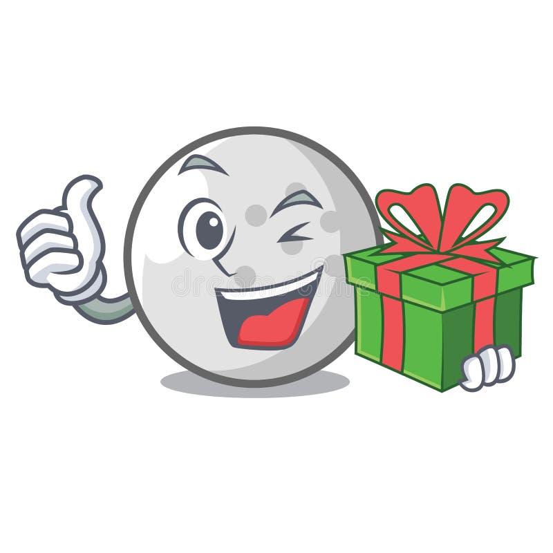 Com desenhos animados da mascote da bola de golfe do presente ilustração do vetor