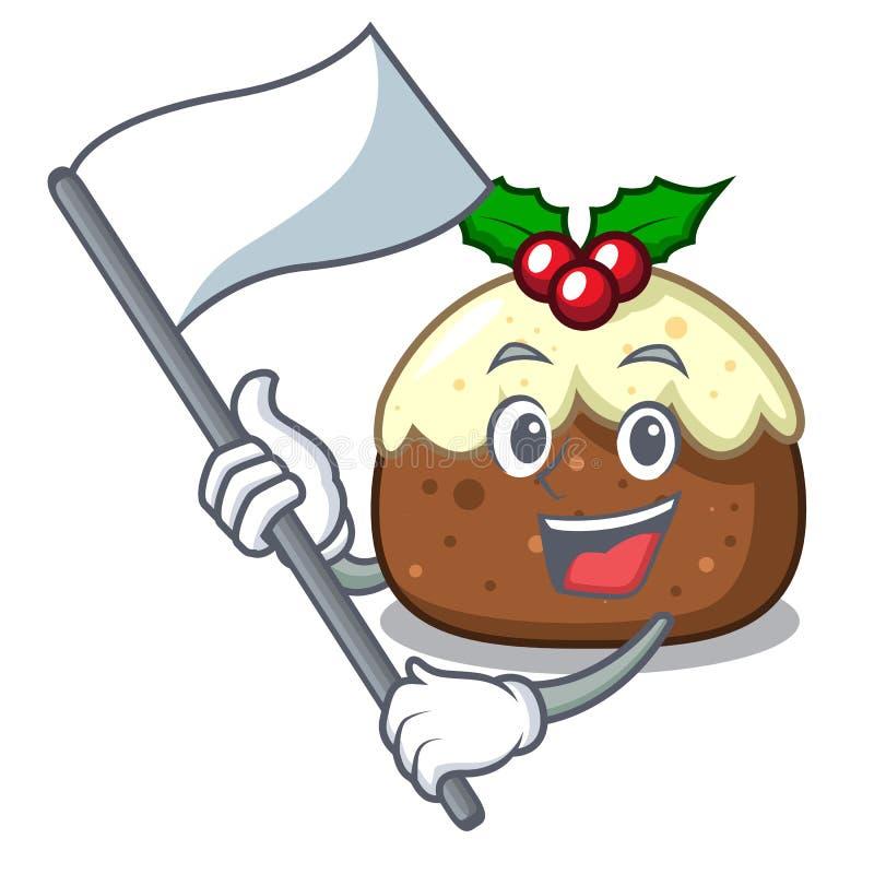 Com desenhos animados da mascote do bolo do fruto da bandeira ilustração do vetor