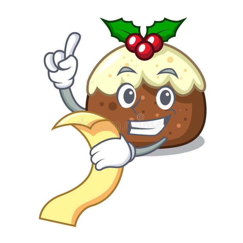 Com desenhos animados da mascote do bolo do fruto do menu ilustração stock